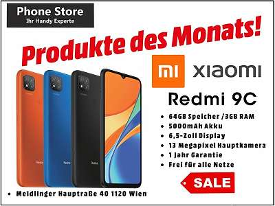 Xiaomi Redmi 9C 64GB /3GB RAM Schwarz, Orange / Nagelneu, Org. Versiegelt/ Werksoffen, Frei Für Alle Simkarten/ Mit 12 Monate Hersteller Garantie/