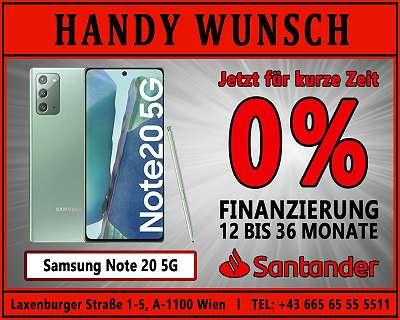 0% Finanzierung! Samsung NOTE 20 5G / ORIGINAL VERPACKT / HANDYWUNSCH