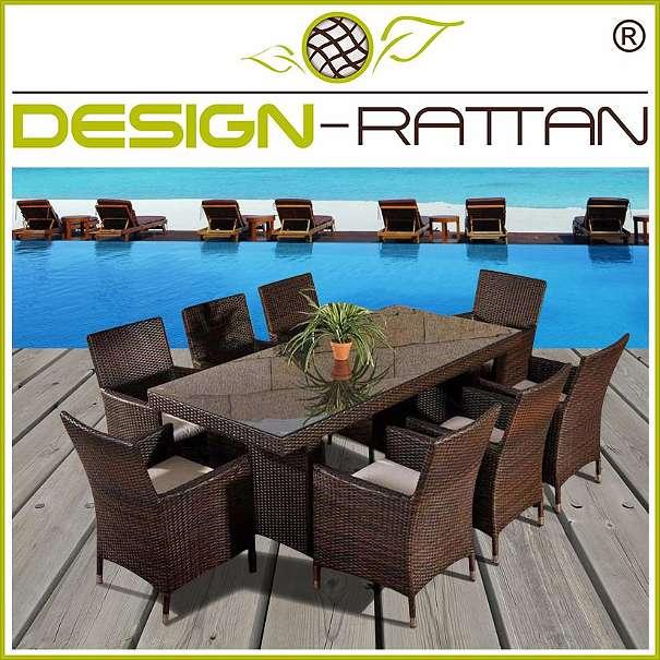 Gartenmobel Bank Mit Tisch : Polyrattan Essgruppe MILANO XXL  200 x 90 cm  1 Tisch und 8 [R
