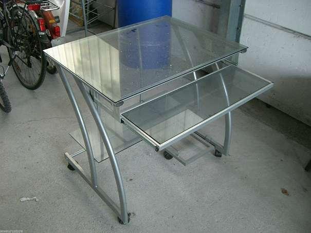 Sch ner schreibtisch metall glas auf rollen guter zustand for Schreibtisch auf rollen