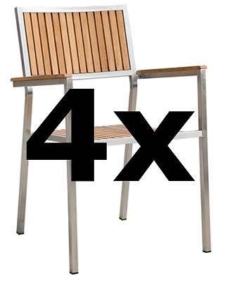 4Stk Designer Gartenstuhl Mit Armlehne Gartensessel Stapelstuhl KUBA TEAK  Edelstahl Teak .