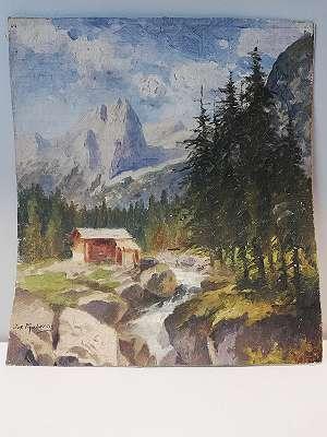 Berglandschaft mit Bach- Josef Mahorcig (Triest 1843-1923 Graz)