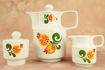 SCHNÄPPCHEN für Styler – Kaffeekern im tollen Design und mit genialem Motiv! Tee Service Kanne Kännchen Zucker Dose Blumen Midcentury