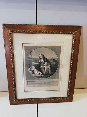 Kupferstich , Madonna mit dem schlafenden Kind