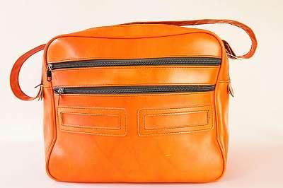 Kultstück! Originale Vintage Messenger-Bag in orangerot aus Leder Tasche Courier Bag Umhänge Schulter