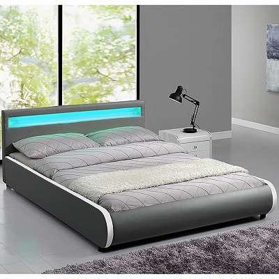 Polsterbett 140 x 200 cm grau Einzelbett Kunstlederbett Doppelbett mit LED Bettgestell Bett JU28924