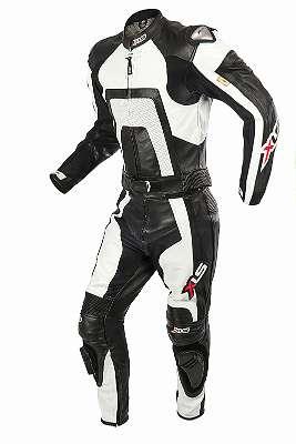 Lederkombi XLS Zweiteiler Weiß Schwarz zweiteilig Motorradkombi 46 48 50 52 54 56 58 60