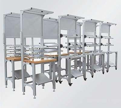 MAS, Modular assembly System, Aluprofil, Gestell, angepasster Arbeitsplatz, Gebindeanstellung, Materialbereitstellung, Einhausung