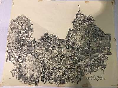 Zeichnung 1938 Leo Adler Nürnberg Deutschland