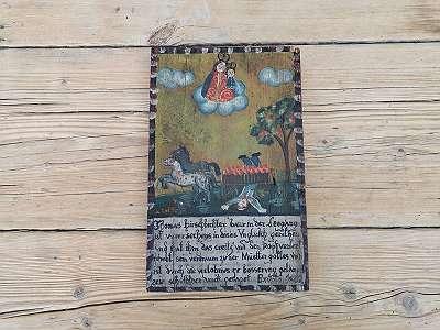 Holz Andachtsbild handbemalt 1802