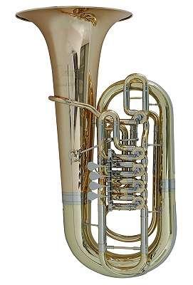 Concerto F-Tuba Limited Edition GMS, F-Tuba, lackiert, handgehämmertes Goldmessing-Schallstück, Minibal-Gelenke, 5 Zylinderventile, mit Luxus-Bagkoffer