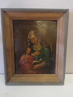 Maria mit Jesuskind - Öl auf Metall