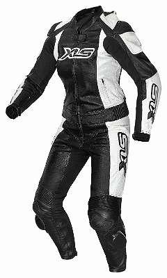 Damen Lederkombi von XLS zweiteilig schwarz weiß Zweteiler Gr. 34 36 38 40 42 44