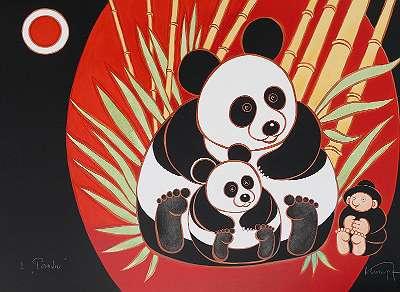 Gottfried KUMPF, Panda - Farblithographie