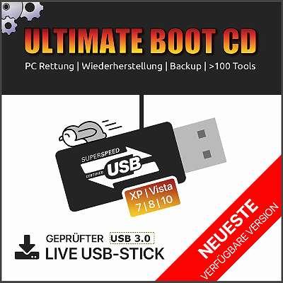 Ultimate Boot CD Computer Rettung Recovery Tools USB Stick 3.0 Windows Hilfe Reparatur