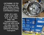 GETRIEBE 1.9 TDI 5-Gang Audi A3 Seat Altea Toledo Skoda Octavia VW Golf Beetle Caddy 2K HQS, JCY, KRY, KWK, GQR, JNV, JCX, JCR, GQQ, FNE, KBL+ Kupplungssatz ZMS + ÖL GRATIS Montage, Transport.