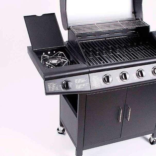 aktion gasgrill bbq grillwagen 4 edelstahl brenner gas grill seitenkocher neu schwarz 199. Black Bedroom Furniture Sets. Home Design Ideas