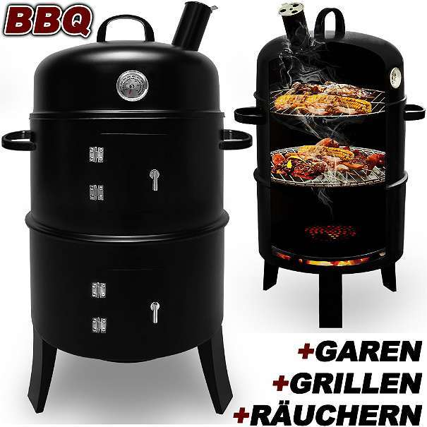 bbq neu smoker grill r ucherofen grillofen grilltonne r uchergrill kohlegrill ofen 79. Black Bedroom Furniture Sets. Home Design Ideas