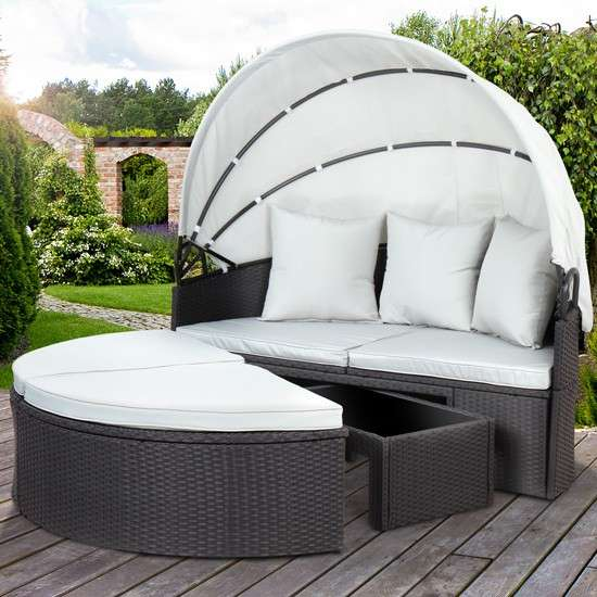 Polyrattan Sonneninsel Gartenmöbel Sitzgarnitur Gartenmuschel