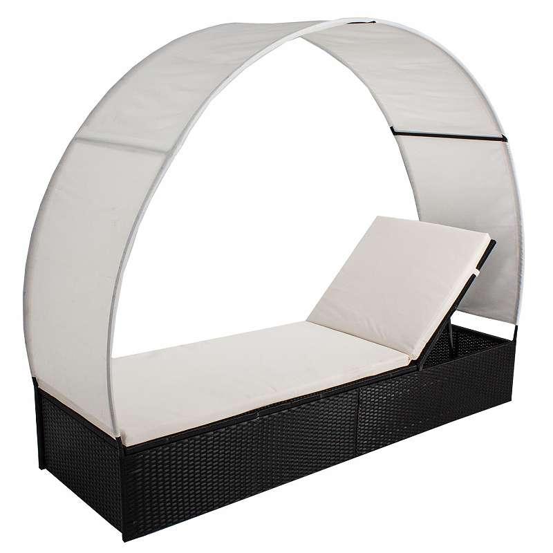 Polyrattan Gartenmöbel Sonnenliege Lounge Ibiza L mit Dach für 1 ...