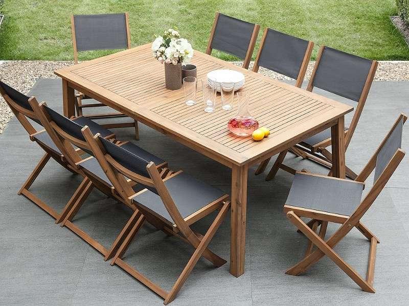 Gartenmöbel Set Holz 8-Sizer Textilene dunkelgrau CESANA, € 589 ...