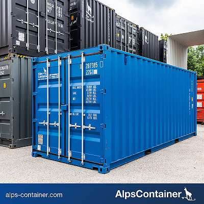 20ft (6m) Seecontainer / Lagercontainer, enzianblau RAL5010