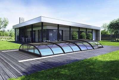 Top Angebot Poolüberdachung - Schiebedach - Schwimmbadüberdachung - Pooldach 860x470x100cm