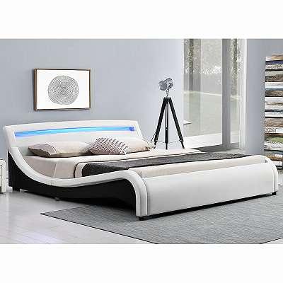 Polsterbett 180 x 200 cm weiß mit LED Kunstlederbett Doppelbett mit LED Bettgestell Bett JU300102