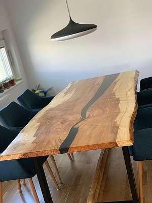 Tischplatte mit Epoxidharz - für Rivertable - Unikate für Schreibtische, Esstische, Wandbords, Raumteiler, Bilder, Waschbecken etc.