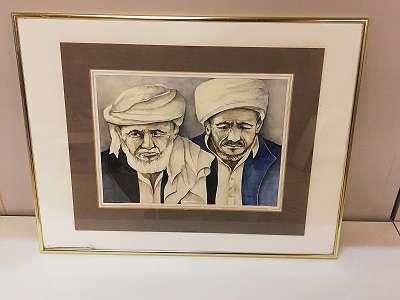 Portrait- Zwei Orientalische Männer, Aquarell