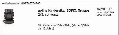 Goline Kindersitz 15-36Kg NEU ISOFIX