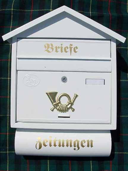 briefkasten metall wei postkasten mit zeitungsrolle 8 farben in 2 modellen neu 30 3441. Black Bedroom Furniture Sets. Home Design Ideas