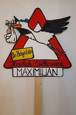 Babystorch Schild 50 x 50 cm - mit gratis Aufschrift!