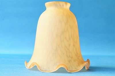 Neu! Lampenschirm aus Glas im genialen Vintage-Design Lampe Leuchte Leuchter Luster Glas Schirm Trichter orange braun bernstein Blüte Tulpe