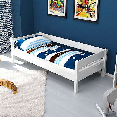 Jugendbett / Einzelbett JENS weiß lackiert Buche massiv Vollholz 200x90 cm DELINEA