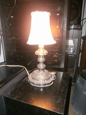 Silberne Tischlampe um 1900