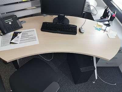 Schreibtisch Eiche Hell open Office gerundet