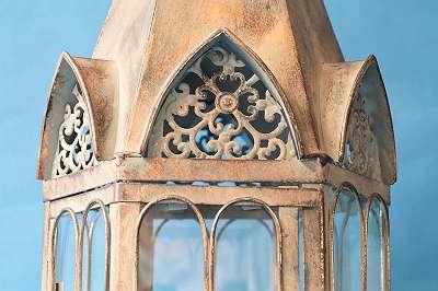 Große 6-eckige Laterne im herrschaftlichen Vintage-Design – Höhe ca. 59 cm! Windlicht Leuchte Laterne Terrasse Balkon Licht Kerzen Geschenk im Stile der Gotik Renaissance Neo Historismus Retro