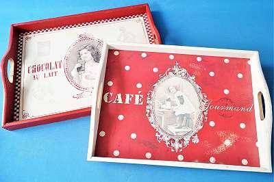 SO CHIC! 2er Set Tabletts im Vintage-Stil | Postkarten Shabby Landhaus Cottage Tray Tableau Tablett Tragerl Küche