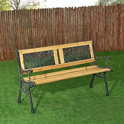 Gartenbank Holz lackiert 2-Sitzer Bank Gartenmöbel Terrassenmöbel Garten Sitzgruppe JU200578