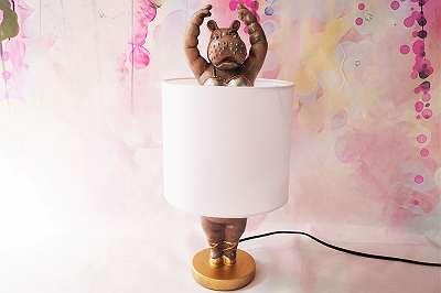 Extravagante Nilpferdballerina als Tischlampe – Höhe ca. 44 cm Leuchte Licht Deko Geschenk