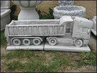 LKW Scania mit Aufleger Anhänger Pflanzgefäß Steinfigur 75 cm Wagen