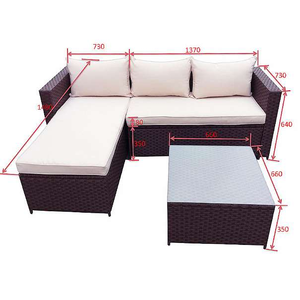 Lounge Gartenset Braun Garnitur Polyrattan Gartenmöbel NEU Model CLIK