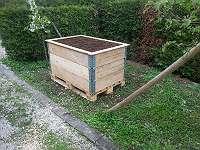 Hochbeet aus Aufsatzrahmen und Paletten Gartenbeet Gemüsebeet