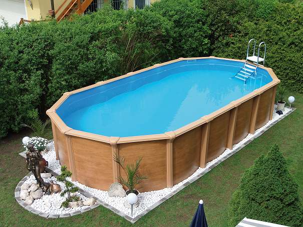 Steirerbecken pool supreme stahlwandbecken de luxe wood for Garten pool teilversenkt