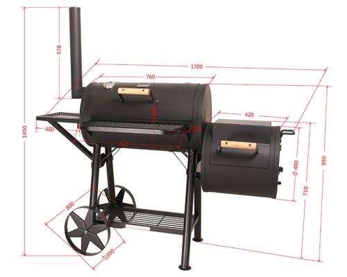 massiver smoker bbq grillwagen holzkohle grill ca 90kg 3. Black Bedroom Furniture Sets. Home Design Ideas
