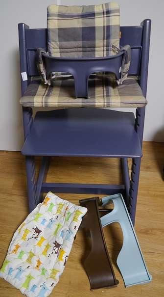 stokke tripp trapp hochstuhl blau grau dunkel blau wie neu optional mit babyset und kissen und. Black Bedroom Furniture Sets. Home Design Ideas