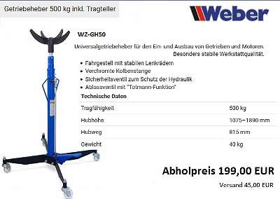 Getriebeheber 500 kg