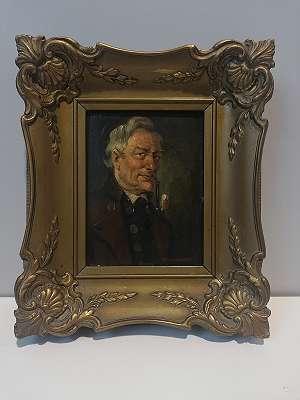 Ölbild Mann mit Pfeife, A. Zimmermann