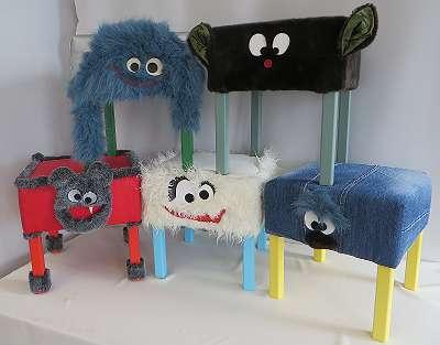 Hocker aus Holz, Monsterhocker für Kinder, Stuhl ohne Lehne